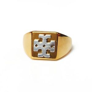 Tory Burch Block T-Logo Brass & Silver Ring Sz 8